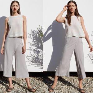 Eileen Fisher Grey Wrap Front Wide Leg Crop Pants